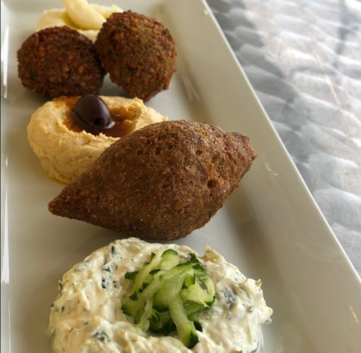 Kibbe and Falafel sampler plate